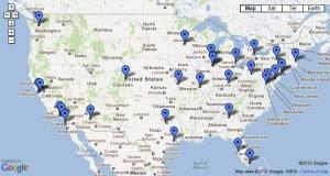 Map of all 30 major league baseball stadiums
